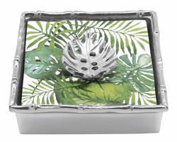 Tropical Leaf Bamboo Napkin Box by Mariposa
