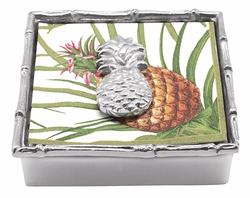 Tropical Pineapple Bamboo Napkin Box and Weight by Mariposa