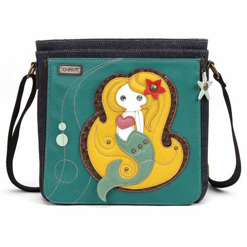 Turquoise Mermaid Deluxe Messenger Bag by Chala