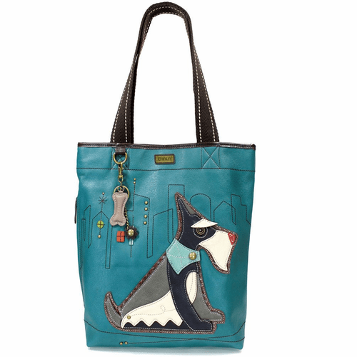 Turquoise Schnauzer Everyday Tote with Bone Charm by Chala