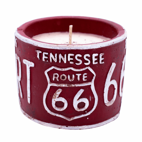 "Vanilla Pound Cake American Highway ""Tennessee"" Round License Plate Pot Swan Creek Candle"