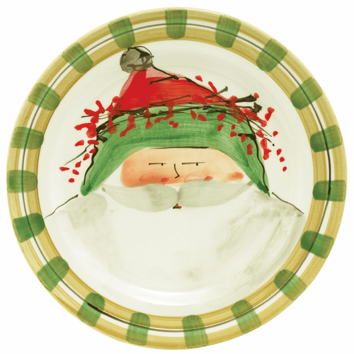 Vietri Old St. Nick Dinner Plate - Green