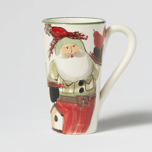 Vietri Old St. Nick Latte Mug with Birds