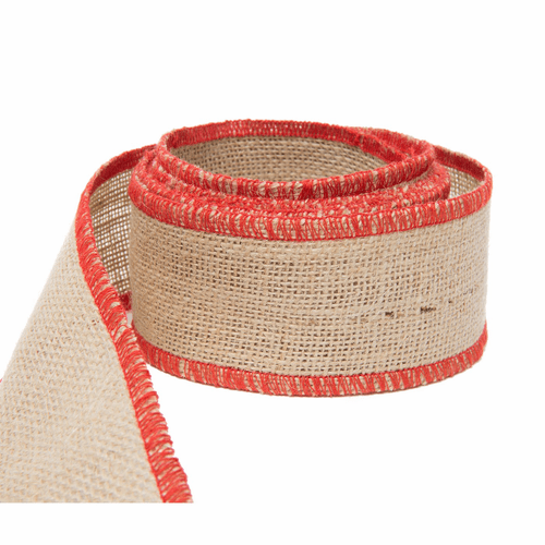 Vietri Old St. Nick Natural Jute w/ Red Trim Stitching Ribbon