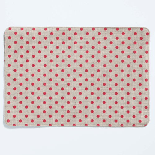 Vietri Old St. Nick Red & Natural Striped/Dot Reversible Placemat