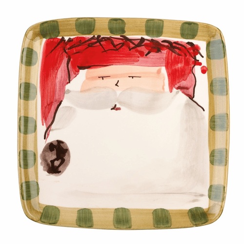 Vietri Old St. Nick Square Salad Plate - Red