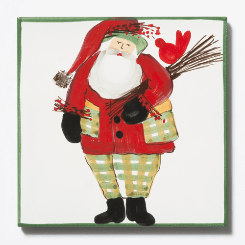 Vietri Old St. Nick Trivet - Green Border with Wood Pile