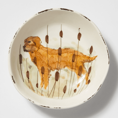 Vietri Wildlife Hunting Dog Pasta Bowl