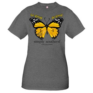 Vintage Butterfly Dark Heather Gray Short Sleeve Tee by Simply Southern