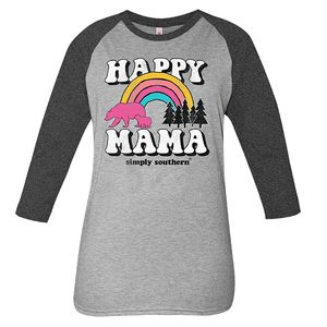 Vintage Dark Heather Gray Happy Mama Long Sleeve Tee by Simply Southern