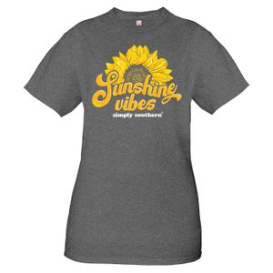 Vintage Dark Heather Gray Sunshine Short Sleeve Tee by Simply Southern