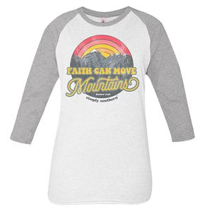 Vintage White and Gray Faith Can Move Mountains Long Sleeve Tee by Simply Southern