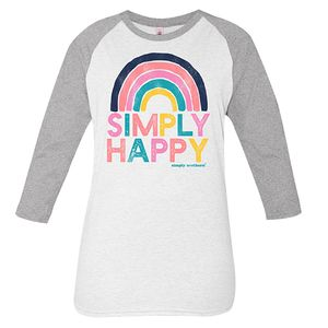 Vintage White and Gray Simply Happy Long Sleeve Tee by Simply Southern