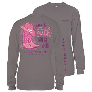Walk by Faith Steel Long Sleeve Tee by Simply Southern