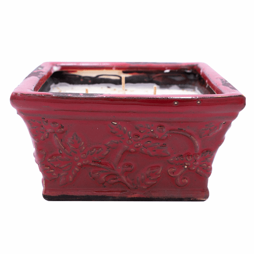 Warm Cinnamon Buns Holiday Pottery Large Square (Color: Red) Swan Creek Candle