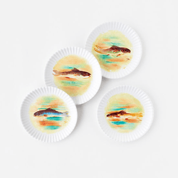 "Watercolor Fish ""Paper Plate Look"" Melamine 9"" Plate by One Hundred 80 Degrees - Set of 4"
