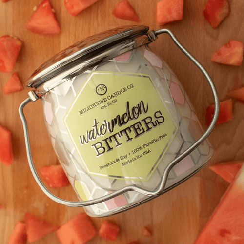 Watermelon Bitters Ltd Edition 16 oz. Wrapped Butter Jar Candle by Milkhouse Candle Creamery