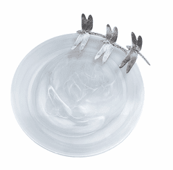 White Dragonfly Alabaster Platter by Mariposa