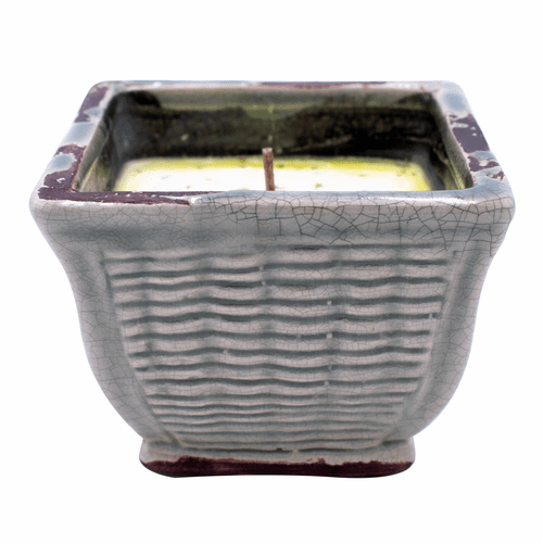 White Linen & Lavender French Farmhouse Square Pot Swan Creek Candle (Color: Slate)