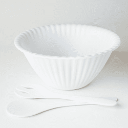 White Melamine Salad Bowl with Tongs by One Hundred 80 Degrees