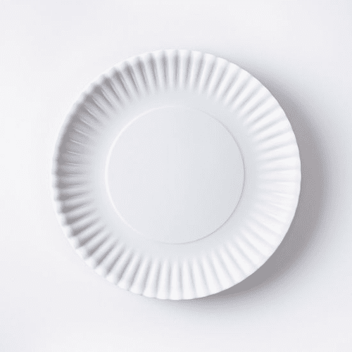 "White ""Paper Plate Look"" Melamine 9"" Plate by One Hundred 80 Degrees - Set of 4"