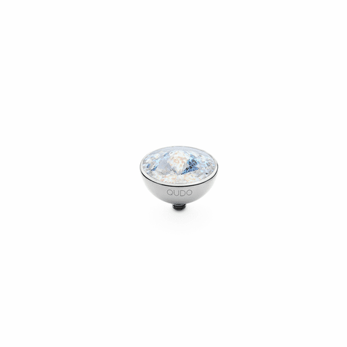 White Patina 13mm Silver Interchangeable Top by Qudo Jewelry
