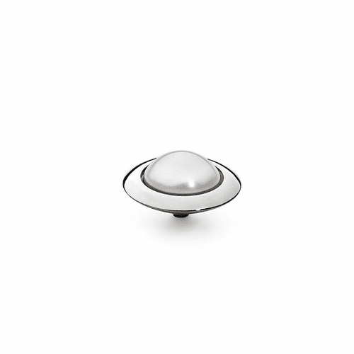 White Pearl 16mm Silver Interchangeable Top by Qudo Jewelry