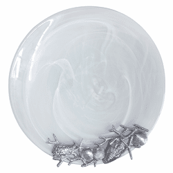 White Shell Alabaster Platter by Mariposa