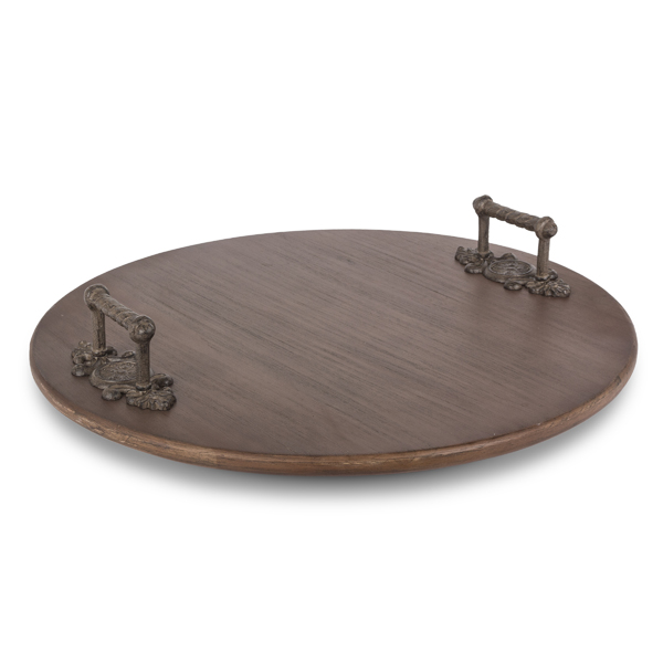 Wood Lazy Susan With Metal Leaf Handles Gg Collection