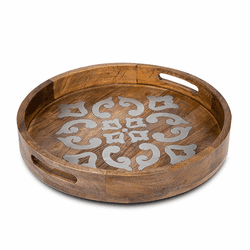"Wood with Metal Inlay 20"" Round Tray - GG Collection"