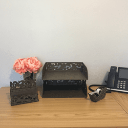 Work From Home Set with Tape Dispenser, Letter Holder and Document Tray by GG Collection