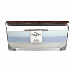 Woven Comforts WoodWick Trilogy Candle 16 oz. HearthWick Flame