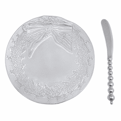 Wreath Ceramic Canape Plate by Mariposa