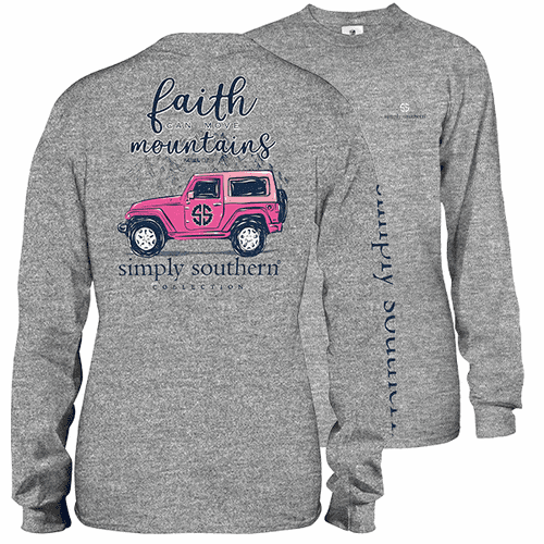 X-Large Faith Can Move Mountains Heather Gray Long Sleeve Tee by Simply Southern