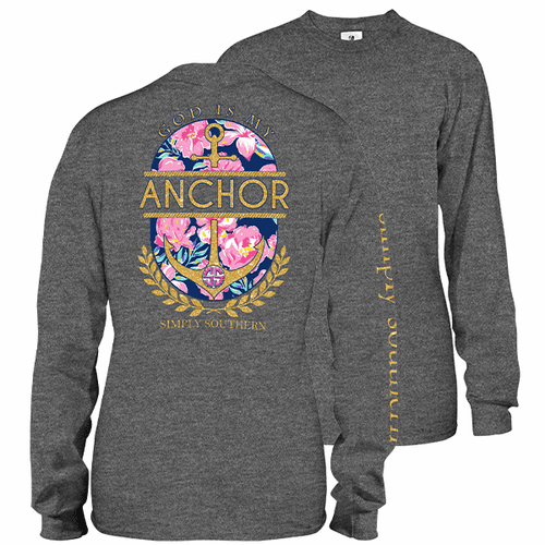 X-Large God is My Anchor Dark Heather Gray Long Sleeve Tee by Simply Southern