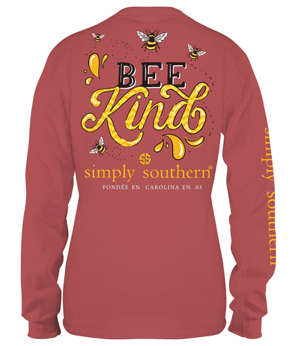 Xlarge Bee Kind Spice Long Sleeve Tee by Simply Southern