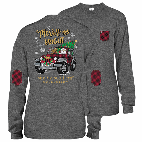 Xlarge Dark Heather Merry and Bright Long Sleeve Tee by Simply Southern