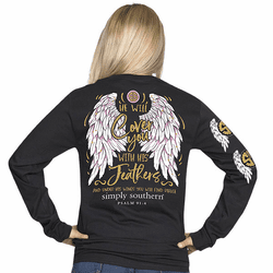 XLarge He Will Cover You With His Feathers Black Long Sleeve Tee by Simply Southern