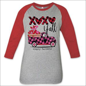 XOXO Y'all Heather Gray and Red Simply Faithful Long Sleeve Tee by Simply Southern
