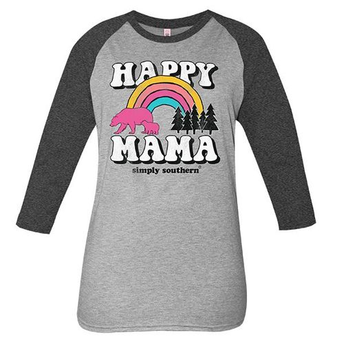 XX-Large Vintage Dark Heather Gray Happy Mama Long Sleeve Tee by Simply Southern