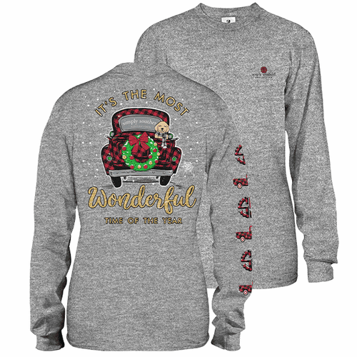 XXLarge Gray Most Wonderful Time of the Year Long Sleeve Tee by Simply Southern