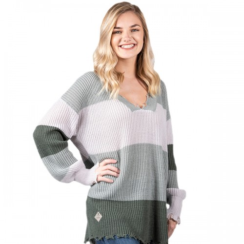 XXLarge Gray Striped Distressed Sweater by Simply Southern