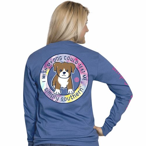XXLarge I Wish My Dog Could Text Me Moonrise Long Sleeve Tee by Simply Southern