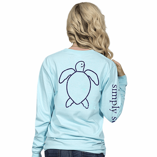 XXLarge Save The Turtles Logo Marine Long Sleeve Tee by Simply Southern