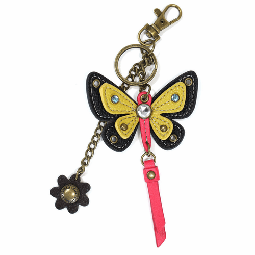 Yellow Butterfly with Flower Mini Key Chain by Chala