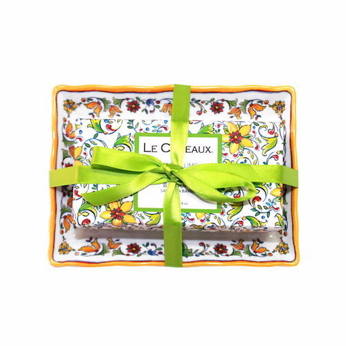 Zest of Lime Bar Soap on Matching Melamine Soap Dish Gift Set by Le Cadeaux