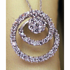 Diamond Circle Pendant 14KT White Gold Chain
