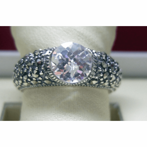 Sterling Silver, Marcasite and CZ Judith Jack Ring