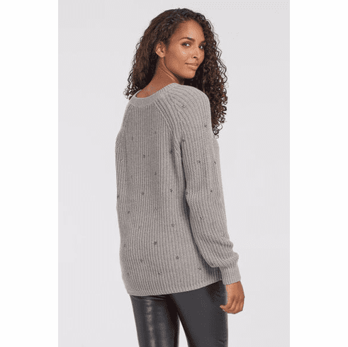 TRIBAL GRAY SWEATER WITH STAR EMBELLISHMENTS