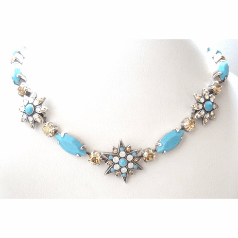 Turquoise Crystal Necklace #3126-807